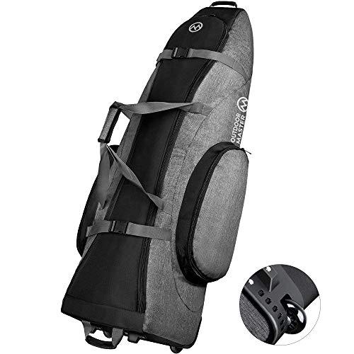 OutdoorMaster Padded Golf Club Travel bag with Wheels, 900D Heavy Duty Oxford Waterproof -Alligators - Black + Gray