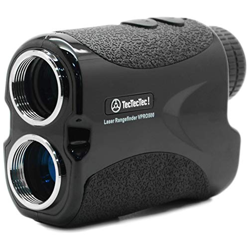 TecTecTec VPRO500 Golf Rangefinder with High-Precision, Laser Range Finder Binoculars with Pinsensor and Battery, Golf Accessories for Golfing and Hunting - Black