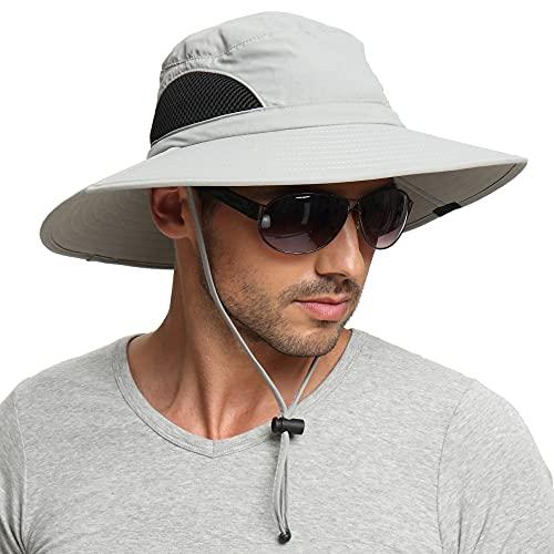 EINSKEY Sun Hat for Men/Women, Waterproof Wide Birm Bucket Hat UV Protection Boonie Hat for Fishing Hiking Garden Beach