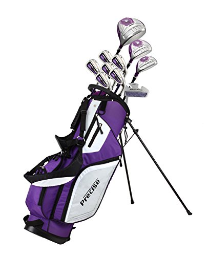 Precise M5 Ladies Womens Complete Right Handed Golf Clubs Set Includes Titanium Driver, S.S. Fairway, S.S. Hybrid, S.S. 5-PW Irons, Putter, Stand Bag, 3 H/C's Purple (Right Hand Petite Size -1')