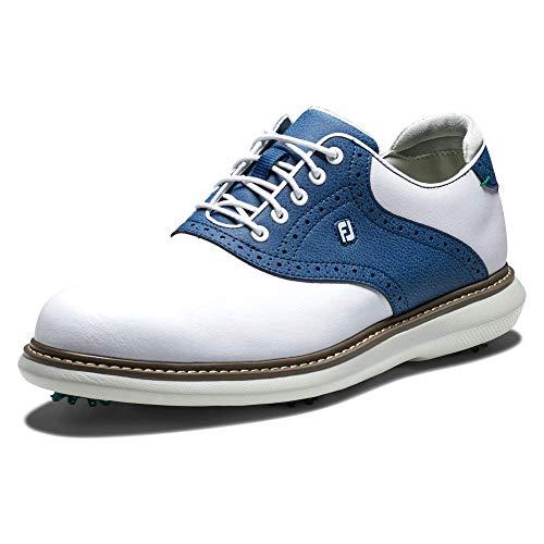 FootJoy Men's Traditions Golf Shoe, White/Navy, 9