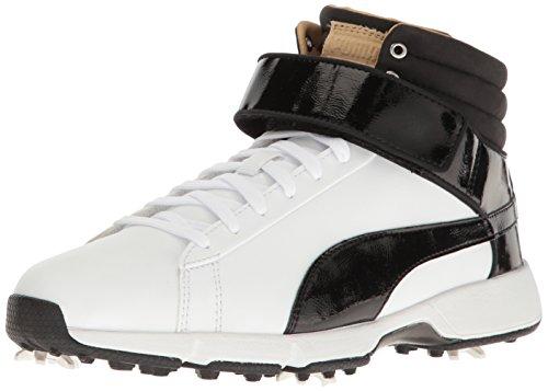 PUMA Golf Unisex-Kid's Titantour HI-TOP SE JR. Golf Shoe, White Black, 4 Medium Youth US Big Kid