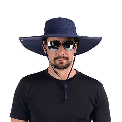 USHAKE Flat Super Wide Brim Fishing Hat Bucket Hat, Safari Hat UPF 50+ Sun Hat…