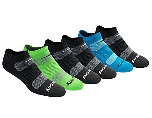 Saucony Men's Multi-Pack Mesh Ventilating Comfort Fit Performance No-Show Socks, Black Fashion (6 Pairs), Shoe Size: 8-12