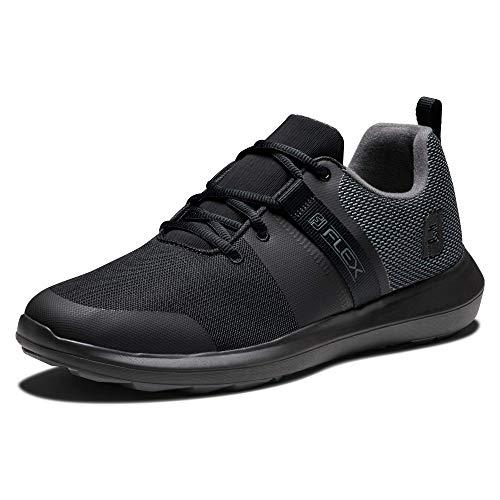 FootJoy Men's FJ Flex Previous Season Style Golf Shoe, Black/Charcoal, 10.5