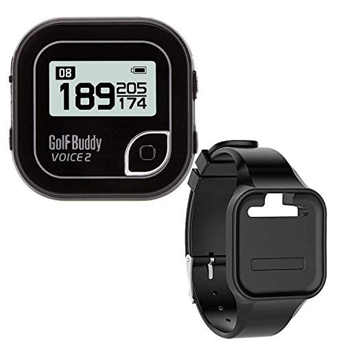 Golf Buddy Voice 2 Talking GPS Rangefinder (Bundle), Long Lasting Battery Golf Distance Range Finder & Silicon Strap Wristband (Voice 2, Black Voice 2 + Black Wristband)