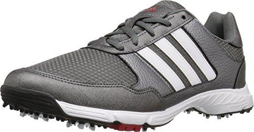 adidas Men's Tech Response Golf Shoe, Iron Metallic/White, 8 W US