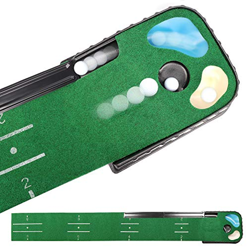 CHAMPKEY Hazard and Bunker Golf Putting Mat | True Roll Surface with Non Slip Backing Golf Putting Green