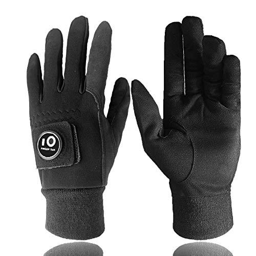 FINGER TEN Winter Golf Gloves Men with Ball Marker Grip Performance 1 Pair, Cold Weather Windproof Waterproof Size Samll Medium ML Large XL