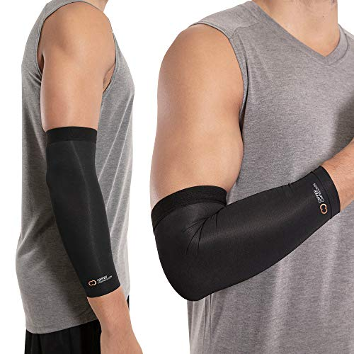 Copper Compression Recovery Elbow Sleeve - Guaranteed Highest Copper Content Elbow Brace for Tendonitis, Golfers or Tennis Elbow, Arthritis. Elbow Support Arm Sleeves Fit for Men and Women (Small)