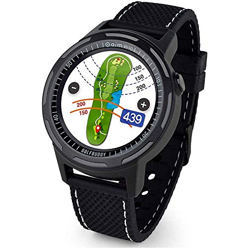 Golf Buddy Aim W10 GPS Watch, Advanced Smart Golf Watch, Full-Color Touch Screen, 40,000 Preloaded courses, Red/White/Blue & Black Wristband