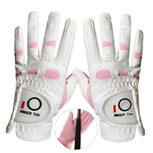 Golf Gloves Women Left Hand Right All Weather Rain Grip Value 2 Pack, Ladies Soft Pink Glove Lh Rh Both Hand Fit Size Small Medium Large XL