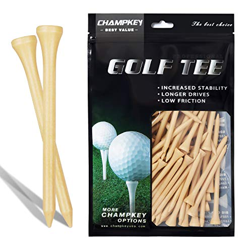 CHAMPKEY 100% Natural Hardwood Golf Tees Pack of 120 - Reduce Friction & Side Spin Wooden Tees - Conforms to USGA Regulations