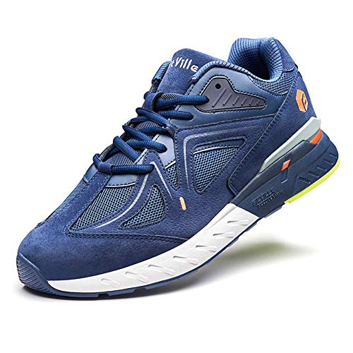 FitVille Extra Wide Walking Shoes for Men Wide Width Sneakers for Flat Foot Plantar Fasciitis Arch Fit Heel Pain Relief - Rebound Core Majolica Blue
