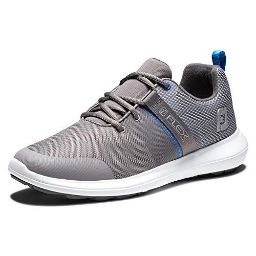FootJoy Men's FJ Flex Previous Season Style Golf Shoe, Grey/Blue, 15