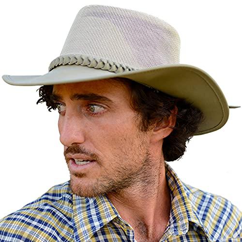 Conner Handmade Hats   Aussie Golf Soakable Mesh Hat, Soaker Chiller Hat with Mesh for Men - Sand, M