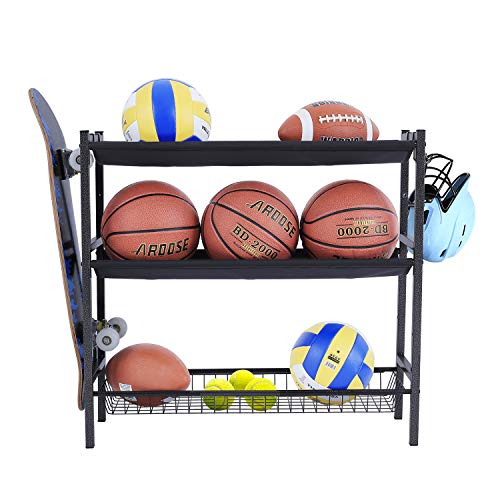 Mythinglogic Garage Sports Equipment Organizer, Sports Gear Storage for Kids, Wall Mount Garage Organizer and Storage with Hooks, Black Steel Garage Ball Storage,Basketball Rack