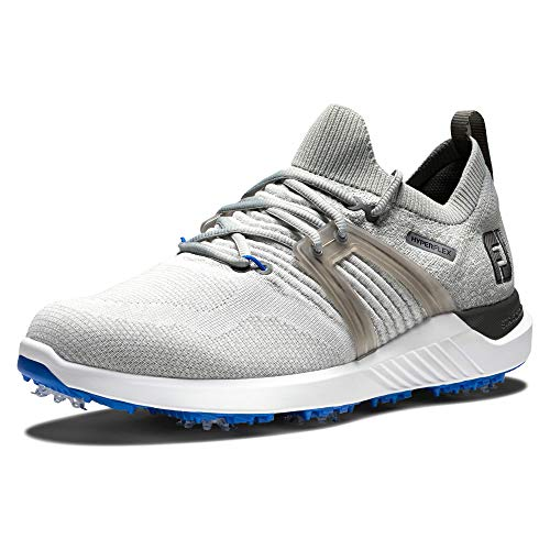 FootJoy Men's Hyperflex Golf Shoe, Grey/White/Blue, 9.5