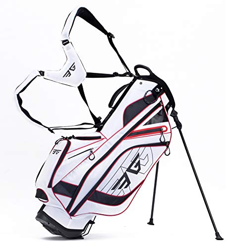 Eagole Super Light, Golf Stand Bag with 8 Pockets, One Cooler Pouch, 4.3 lb, White