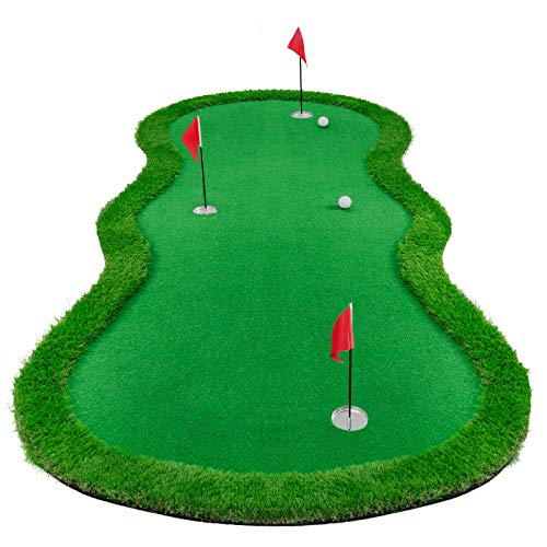 Gracetech Golf Putting Green Indoor/Outdoor, Professional Golf Putting Mat Large Practice Challenging Putter Golf Training Aids System (4x10ft 3Holes)