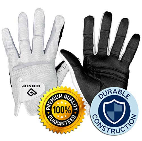 New Improved 2X Long Lasting Bionic RelaxGrip Golf Glove with Patented Double-Row Finger Grip System (Men's XL, Worn on Left Hand)