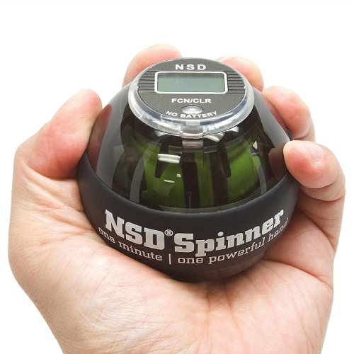 NSD Power AutoStart Spinner Gyro Wrist Forearm Grip Strengthener with Auto Start Feature and Battery-Free LCD Counter