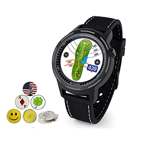 Golf Buddy Aim W10 Bluetooth Wireless Golf GPS Smartwatch Bundle with 5 Ball Markers and 1 Hat Clip - GPS Rangefinder Watch - Black