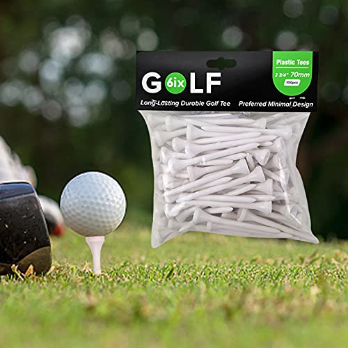 JMLGOLF GOLF6iX Premium White Plastic Golf Tees Bulk Pack 100pcs, Professional Durable Golf Tees 2 3/4 Inch (70mm), High Performance Golf Sports Tool Accessory, Unbreakable Golf Tees
