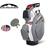 2017 Sun Mountain Golf Bag, H2NO Lite, 14-Way Stand Bag, Black/White/Red, Comes with 1 Golf Tower Ring