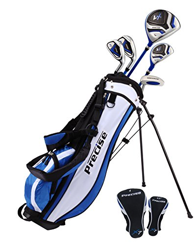 Distinctive Right Handed Junior Golf Club Set for Age 9 to 12 (Height 4'4' to 5') Set Includes: Driver (15'), Hybrid Wood (22, 2 Irons, Putter, Bonus Stand Bag & 2 Headcovers